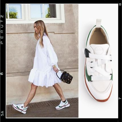 Plain Toe Casual Style Leather Low-Top Sneakers