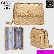 GUCCI Flower Patterns 2WAY Chain Plain Straw Bags