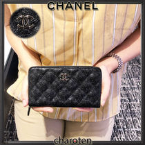 CHANEL ICON Flower Patterns Unisex Calfskin Plain Coin Purses