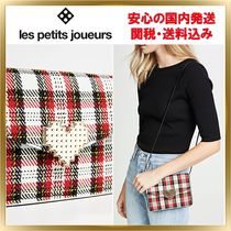 Les Petits Joueurs Gingham Heart Casual Style Canvas Clutches
