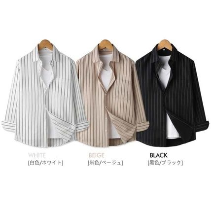Shirts Button-down Stripes Studded Long Sleeves Shirts
