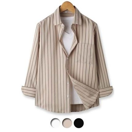 Shirts Button-down Stripes Studded Long Sleeves Shirts 2