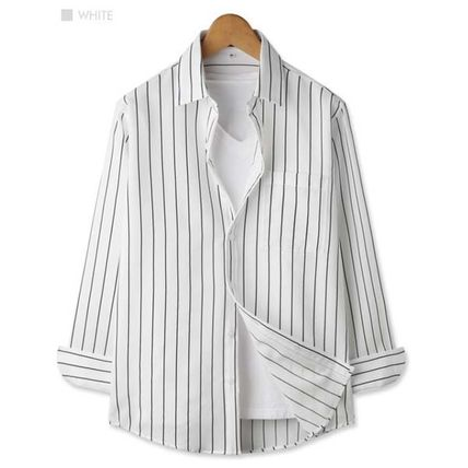 Shirts Button-down Stripes Studded Long Sleeves Shirts 3