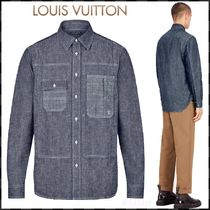 Louis Vuitton Button-down Blended Fabrics Street Style Long Sleeves Plain