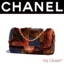 CHANEL ICON Other Check Patterns Fur Blended Fabrics 2WAY Chain