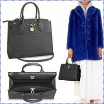 Louis Vuitton CITY STEAMER Blended Fabrics Studded A4 3WAY Plain Leather Elegant Style