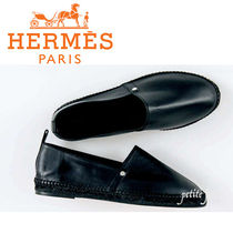 HERMES Aline Blended Fabrics Plain Leather Loafers & Slip-ons