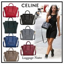 CELINE Luggage Calfskin 2WAY Bi-color Plain Elegant Style Handbags