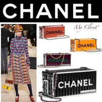 CHANEL ICON Blended Fabrics Street Style 2WAY Chain Plain Elegant Style