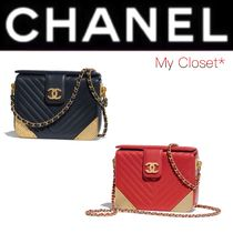 CHANEL ICON Stripes Calfskin Blended Fabrics 2WAY Chain Plain