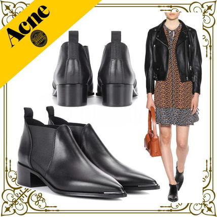 Rubber Sole Plain Leather Mid Heel Boots
