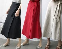 Casual Style Blended Fabrics Plain Cotton Long Maxi Skirts