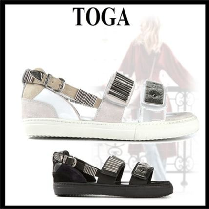 Open Toe Casual Style Plain Leather Sandals