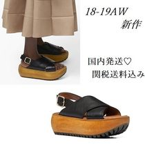 MARNI Open Toe Casual Style Plain Leather Platform & Wedge Sandals