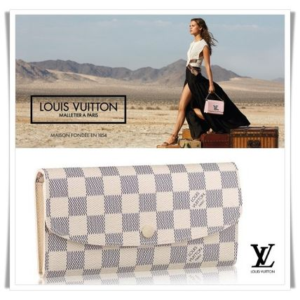 Louis Vuitton Long Wallets Other Check Patterns Canvas Blended Fabrics Long Wallets