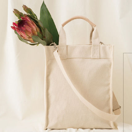 Casual Style Canvas A4 2WAY Plain Totes