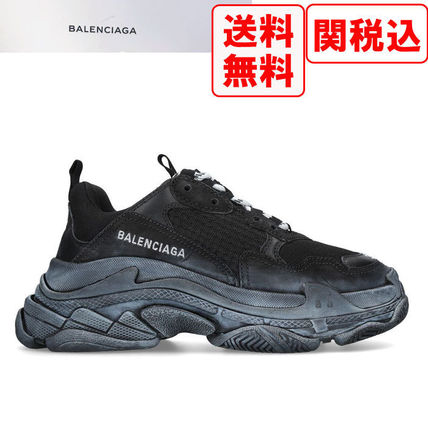 BALENCIAGA Triple S 2018-19AW Unisex Suede Street Style Sneakers by ... 9a8be70d8