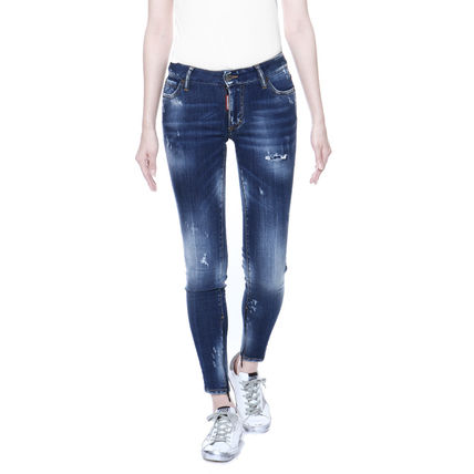 Casual Style Plain Cotton Skinny Jeans