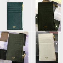 CELINE Zipped Unisex Plain Leather Card Holders
