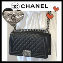 CHANEL BOY CHANEL Unisex Calfskin 2WAY Plain Elegant Style Shoulder Bags