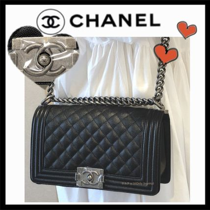 CHANEL BOY CHANEL Unisex Calfskin 2WAY Plain Elegant Style Crossbody