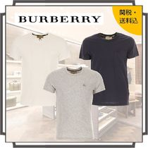 Burberry Crew Neck Pullovers Unisex Street Style Plain Cotton