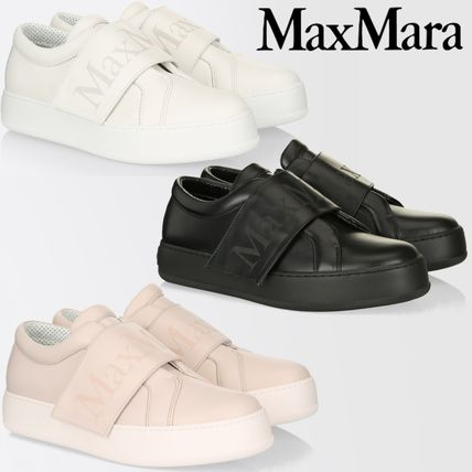 Plain Toe Plain Leather Low-Top Sneakers