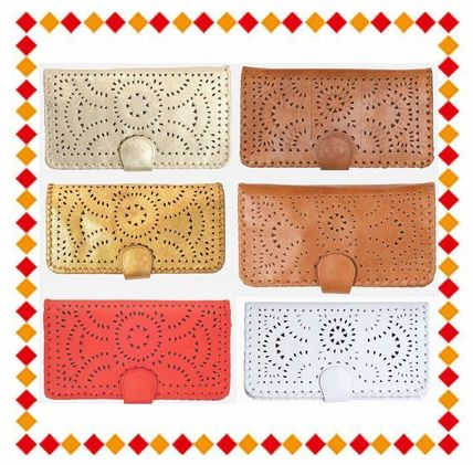 Street Style Plain Leather Handmade Long Wallets
