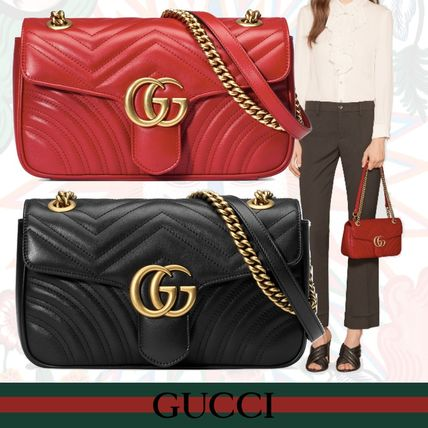724347222647 GUCCI GG Marmont 2018 SS Leather Shoulder Bags (443497 DTDIT 1000 ...