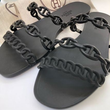 HERMES More Sandals Open Toe Rubber Sole Elegant Style Sandals Sandal 2