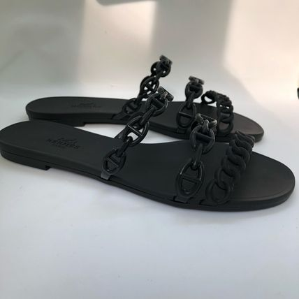 HERMES More Sandals Open Toe Rubber Sole Elegant Style Sandals Sandal 6