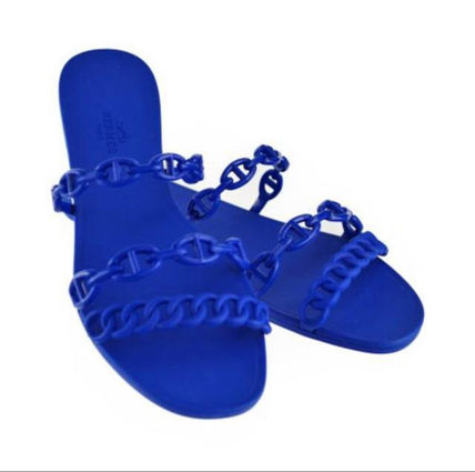 HERMES More Sandals Open Toe Rubber Sole Elegant Style Sandals Sandal 7