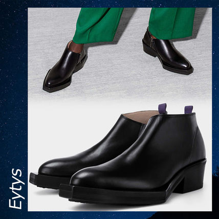 Plain Toe Unisex Street Style Plain Leather Boots