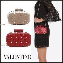 VALENTINO Lambskin Studded 2WAY Chain Party Style Party Bags