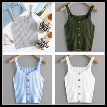 Short Stripes Casual Style Rib Plain Tanks & Camisoles