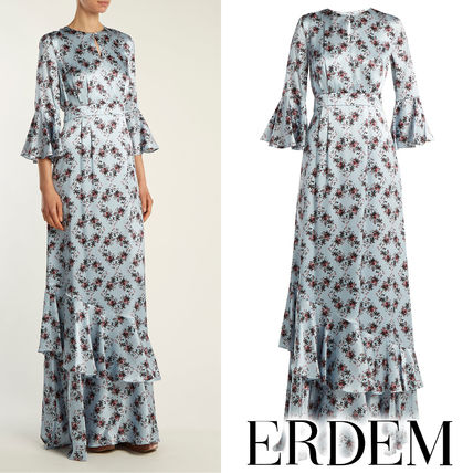 Crew Neck Flower Patterns Maxi Silk Cropped Long Dresses