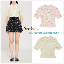 Sretsis Flower Patterns Silk Medium Short Sleeves Elegant Style