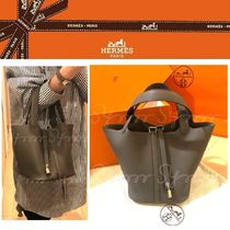HERMES Picotin Plain Leather Elegant Style Totes