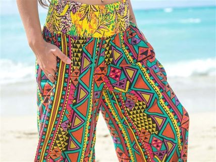 Tropical Patterns Casual Style Long Pants
