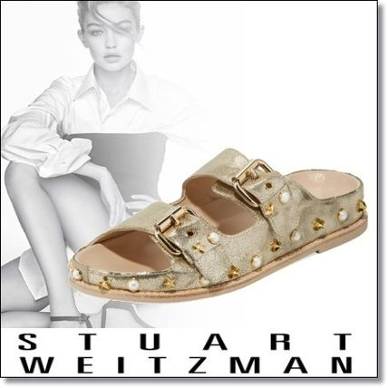 Open Toe Casual Style Studded Plain Leather Sandals