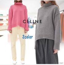 CELINE Cashmere Long Sleeves Plain Medium High-Neck Cashmere