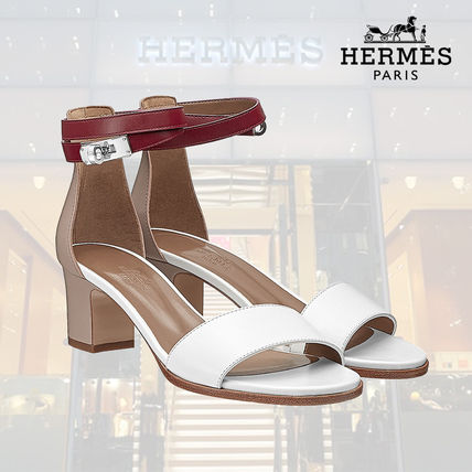 0df27835546 HERMES More Sandals Open Toe Blended Fabrics Plain Leather Block Heels ...