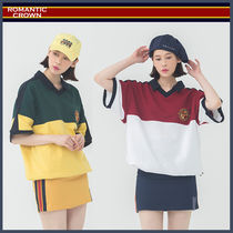 ROMANTIC CROWN Unisex Street Style Short Sleeves Polo Shirts