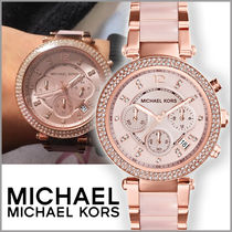 Michael Kors Casual Style Round Quartz Watches Stainless With Jewels