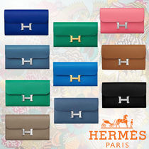 HERMES CONSTANCE Unisex Plain Leather Long Wallets