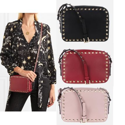 Studded Plain Leather Shoulder Bags