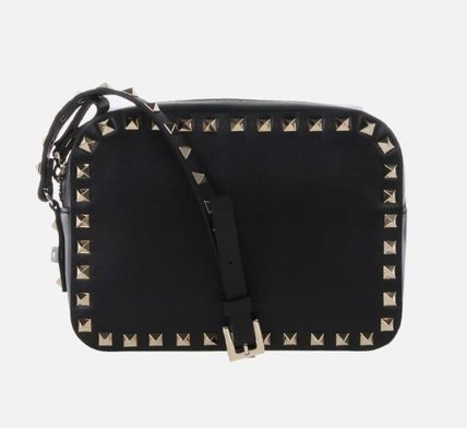 VALENTINO Shoulder Bags Studded Plain Leather Crossbody Shoulder Bags 3