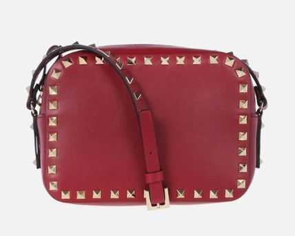 VALENTINO Shoulder Bags Studded Plain Leather Crossbody Shoulder Bags 4