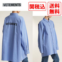 VETEMENTS Button-down Street Style Long Sleeves Cotton Shirts