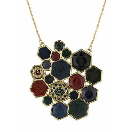 Costume Jewelry Studded Leather Brass Necklaces & Pendants